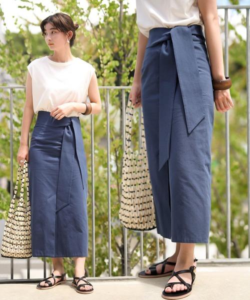 select MOCA(セレクトモカ)の「ハイウエストロング丈ペンシルスカート/取り外し可能なリボン付き/アンクルスカート(スカート)」|ブルー