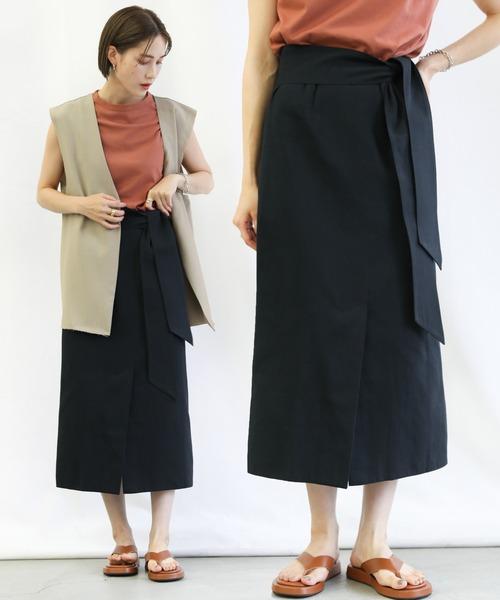 select MOCA(セレクトモカ)の「ハイウエストロング丈ペンシルスカート(スカート)」|ブラック