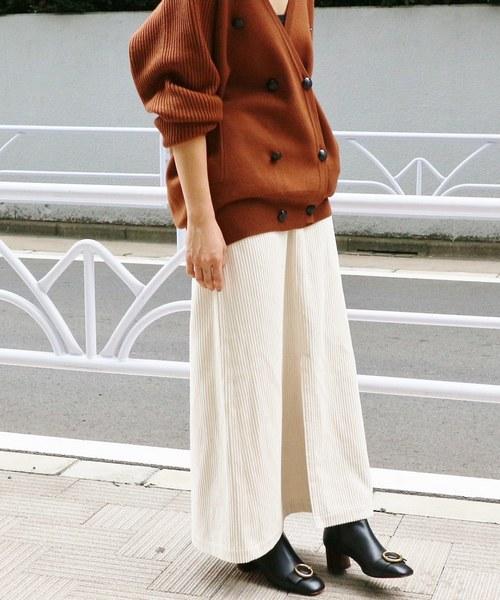 IENA(イエナ)の「太コールロングスカート◆(スカート)」|ホワイト