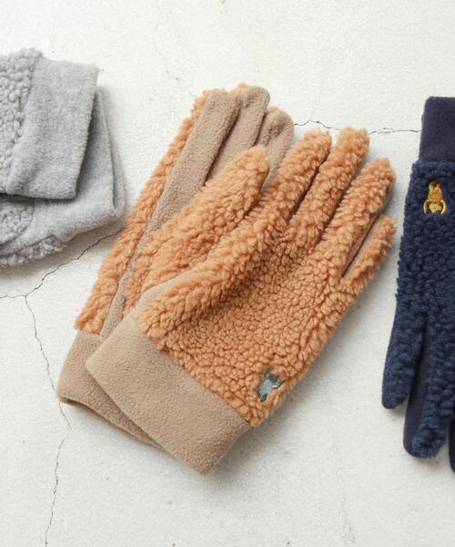 ベア刺繍ボアコンビグローブ(手袋)