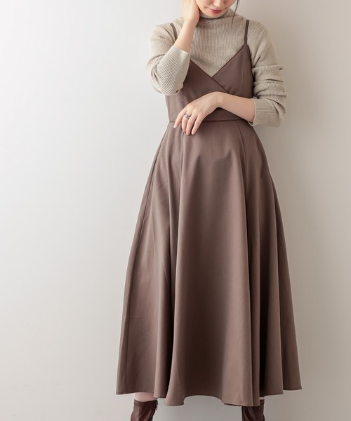 natural couture(ナチュラルクチュール)の「バックリボンキャミワンピース(ワンピース)」 モカ