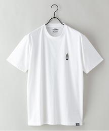 ドライ機能付き(速乾機能)CAMPモチーフワンポイント刺繍ビッグシルエットTシャツアイボリー