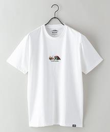 ドライ機能付き(速乾機能)CAMPモチーフワンポイント刺繍ビッグシルエットTシャツホワイト