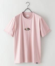 ドライ機能付き(速乾機能)CAMPモチーフワンポイント刺繍ビッグシルエットTシャツピンク