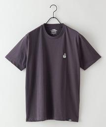 ドライ機能付き(速乾機能)CAMPモチーフワンポイント刺繍ビッグシルエットTシャツチャコールグレー