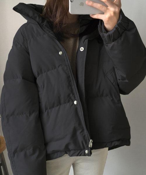 Mayree(メイリー)の「【Mayree】ドロップショルダー ダウンジャケット/パファー(ダウンジャケット/コート)」|ブラック
