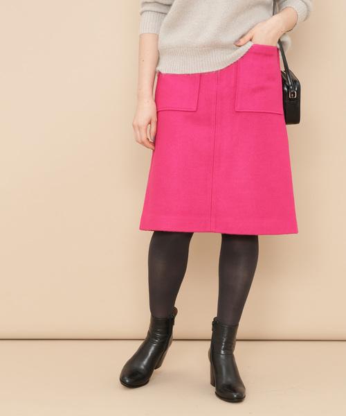 ADAM ET ROPE'(アダムエロペ)の「ポケット付き台形スカート(スカート)」|ピンク