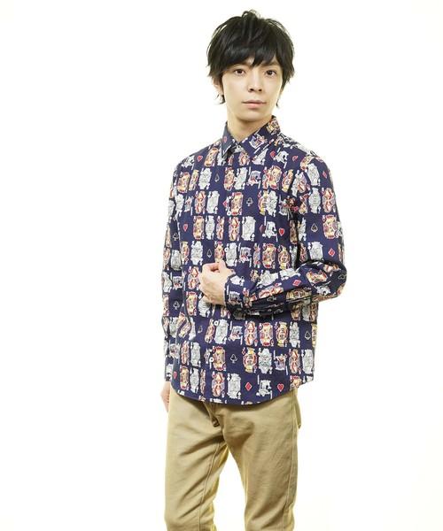 日本製トランププリントレギュラーカラーシャツ(GW)