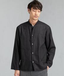 SC ボイルパナマ マオカラー 長袖シャツ