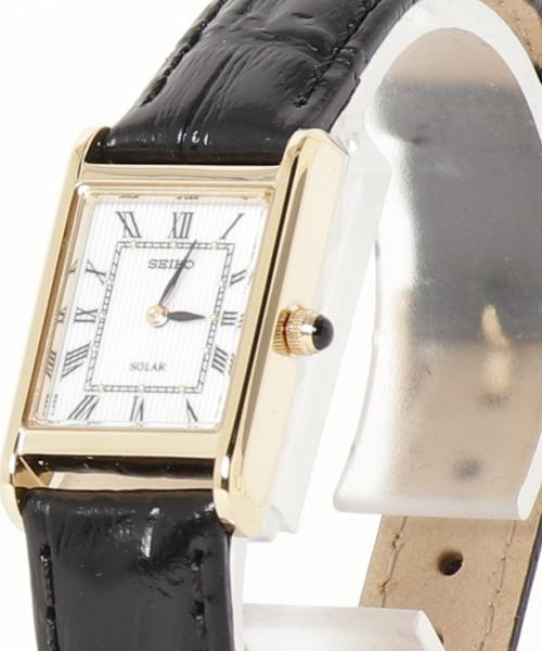 SEIKO(セイコー)の「SEIKO セイコー / ソーラー スクエアフェイス レザーベルト(アナログ腕時計)」|ブラック×ゴールド