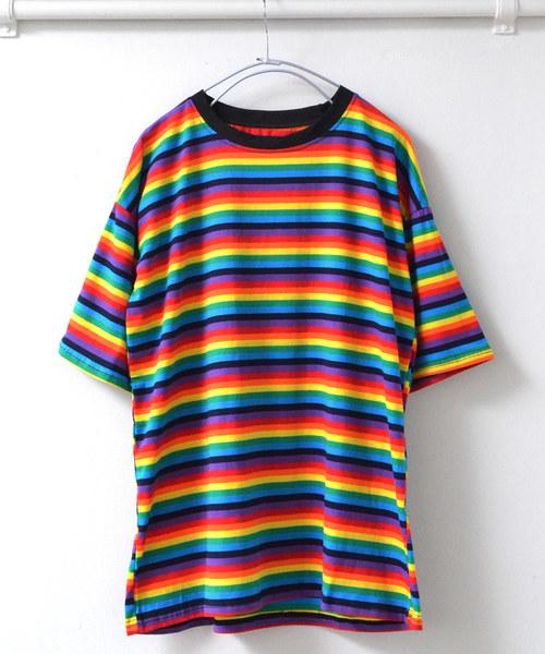 【act】レインボーボーダーTシャツ