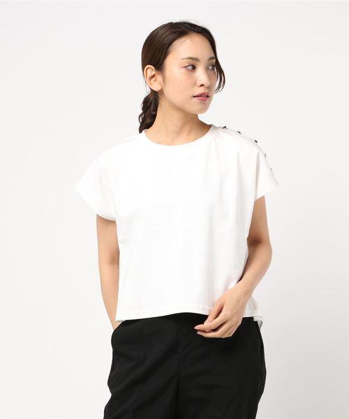MEW'S REFINED CLOTHES(ミューズリファインドクローズ)の「異素材使いカットトップス(Tシャツ/カットソー)」 ホワイト