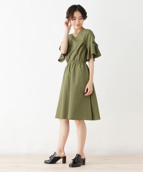 【洗える】袖リボンFIT&フレアワンピース