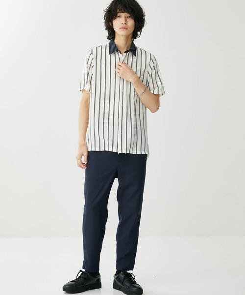 【STUIODUS】ストライプクレリックハーフスリーブシャツ