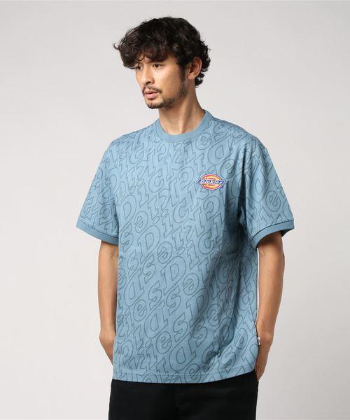 Dickies(ディッキーズ)の「【メンズ】総柄Dickiesロゴ刺繍入り半袖Tシャツ(Tシャツ/カットソー)」|ブルー