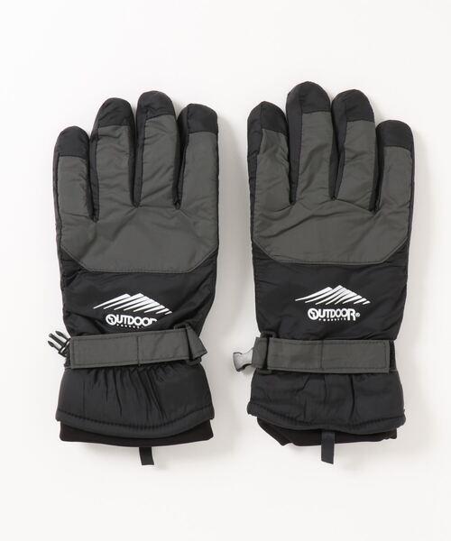 静電気軽減 発熱裏地 撥水効果 防風ナイロングローブ(手袋)