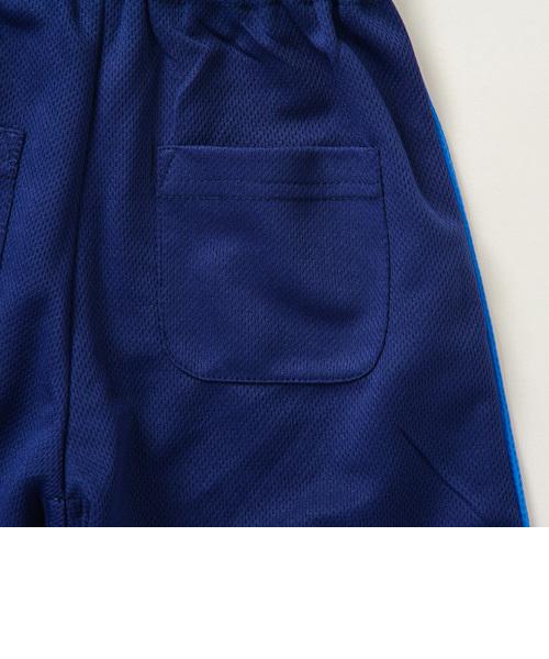 『Tシャツ&ハーフパンツセット』トドラーボーイズ切替ボーダー吸汗速乾半袖 グレー 《motherways|マザウェイズ》