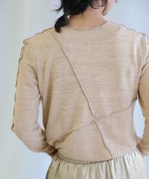 select MOCA(セレクトモカ)のアシンメトリーパターンメロウトップス/長袖メロウ加工レイヤードトップス(Tシャツ/カットソー)