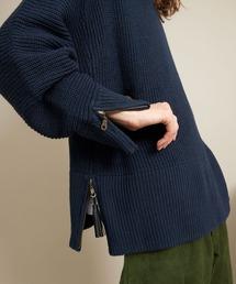 オーバーサイズ 7G畦編み 裾タッセル&袖ZIP モックネックニットプルオーバー(EMMA CLOTHES)ブルー系その他