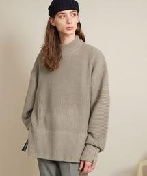 オーバーサイズ 7G畦編み 裾タッセル&袖ZIP モックネックニットプルオーバー(EMMA CLOTHES)グレイッシュベージュ