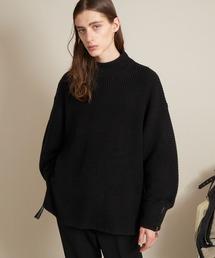 オーバーサイズ 7G畦編み 裾タッセル&袖ZIP モックネックニットプルオーバー(EMMA CLOTHES)ブラック