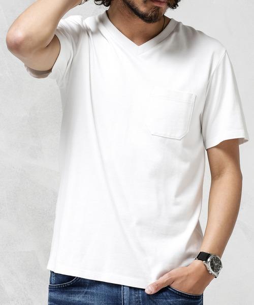 nano・universe(ナノユニバース)の「【ユニセックス対応】Anti Soaked ヘビーVネックTシャツ(Tシャツ/カットソー)」 ホワイト