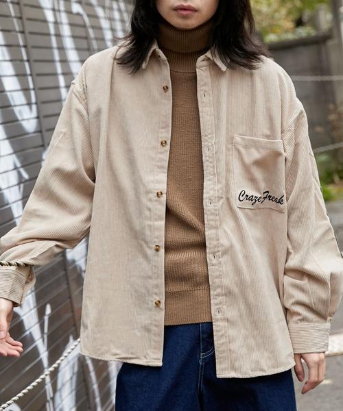 【BASQUE -enthusiastic design-】ビッグシルエット エルボーパッチ コーデュロイ シャツ