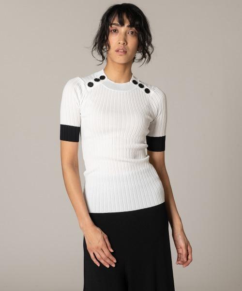 DOUBLE STANDARD CLOTHING(ダブルスタンダードクロージング)の「DSC / レーヨンナイロン ダル糸ニット(PRE)(ニット/セーター)」|ホワイト×ブラック