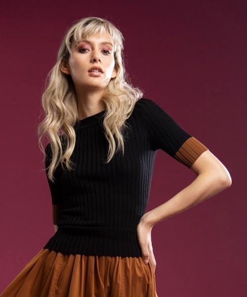 DOUBLE STANDARD CLOTHING(ダブルスタンダードクロージング)の「DSC / レーヨンナイロン ダル糸ニット(PRE)(ニット/セーター)」|ブラック