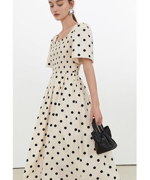 【Fano Studios】【2021SS】Black and white polka dot dress FX21L154