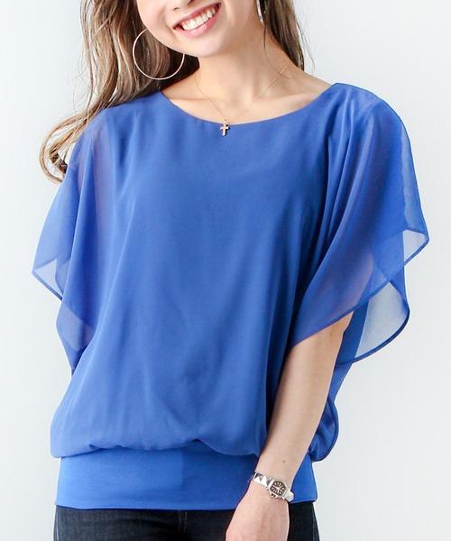 JUNOAH(ジュノア)の「シフォン ふんわりスリーブトップス(Tシャツ/カットソー)」|ブルー