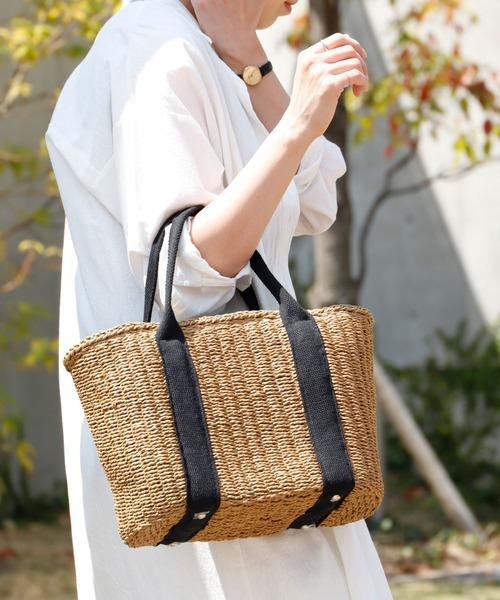 VitaFelice(ヴィータフェリーチェ)の「カゴバッグ テープハンドルカゴトートバッグ かごバッグ 夏バッグ トラブルバッグ 旅行バッグ(かごバッグ)」|ブラウン