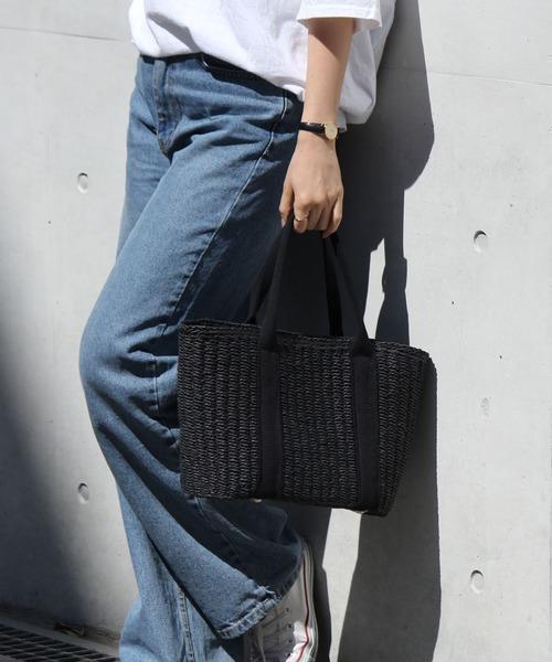VitaFelice(ヴィータフェリーチェ)の「カゴバッグ テープハンドルカゴトートバッグ かごバッグ 夏バッグ トラブルバッグ 旅行バッグ(かごバッグ)」|ブラック