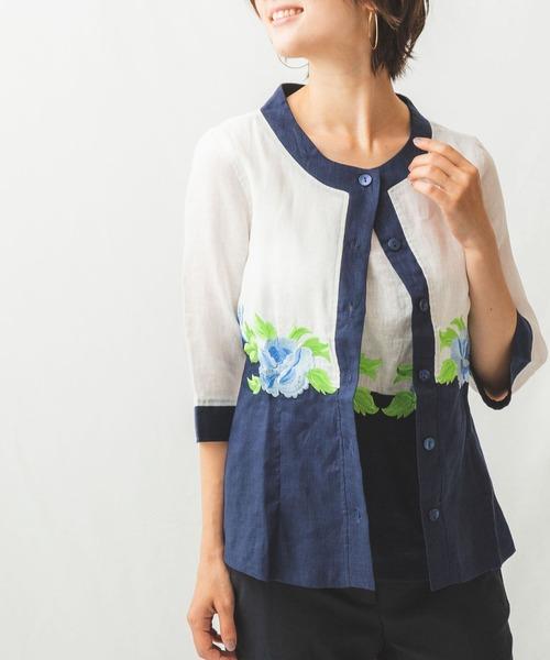 【30%OFF】 フラワー刺繍ノーカラー七分袖ブラウス, 【KOIWAI】小岩井農場からの贈り物 78906a32