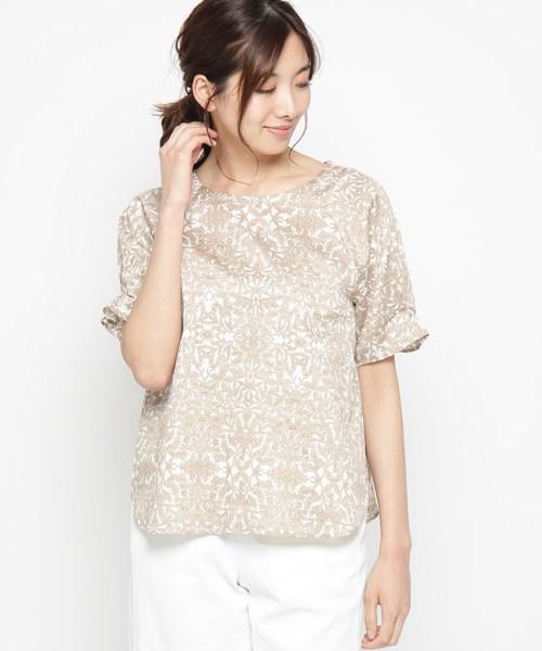 【洗える】ボタニープリントシャツ