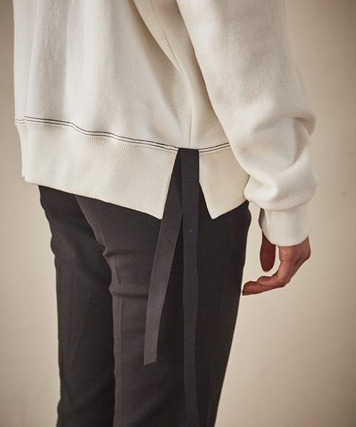 【Maison de Ines】刺繍 & サイドライン リボン スウェットシャツ
