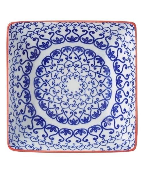 色々皿 角小皿 サークル ブルー