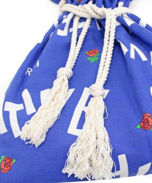 E4610 ロゴ&ローズ柄巾着トートバッグ