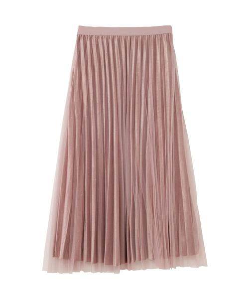 doll up oops(ドールアップウップス)の「チュールレイヤード ベルベット プリーツフレアスカート(スカート)」|スモークピンク