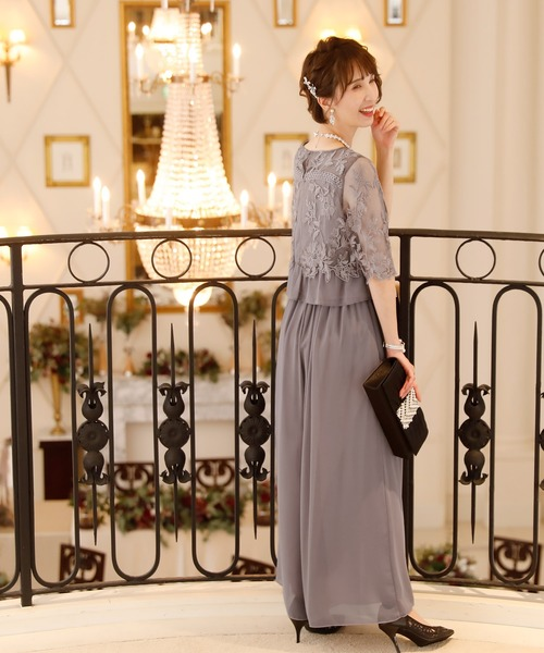 [PourVous] チュールフォーマル&結婚式シフォンセットアップドレス