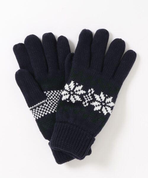 静電気軽減 発熱裏地 防風雪柄ニット手袋