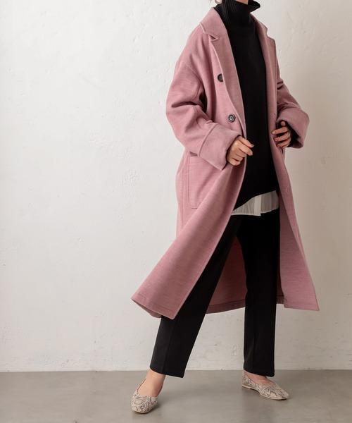 natural couture(ナチュラルクチュール)の「杢調オーバーサイズコート(チェスターコート)」|ピンク