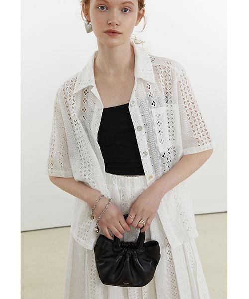 【Fano Studios】【2021SS】Geometry lace shirt FX21T001T