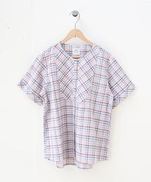 綿麻チェックシャツブラウス
