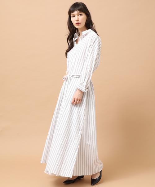 【サイズ交換OK】 【セール】スキッパーロングシャツドレス(シャツワンピース)|SALON エ ET adam et rope