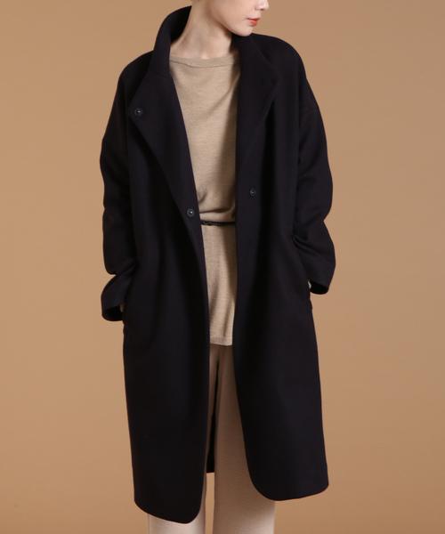 soffitto(ソフィット)の「Soffitto/変形襟コクーンコート(テーラードジャケット)」|ネイビー