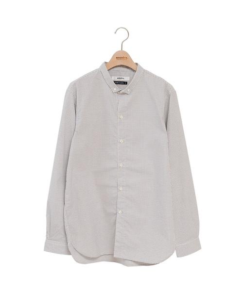 100/2液アンチェックノーカラーシャツジャケット