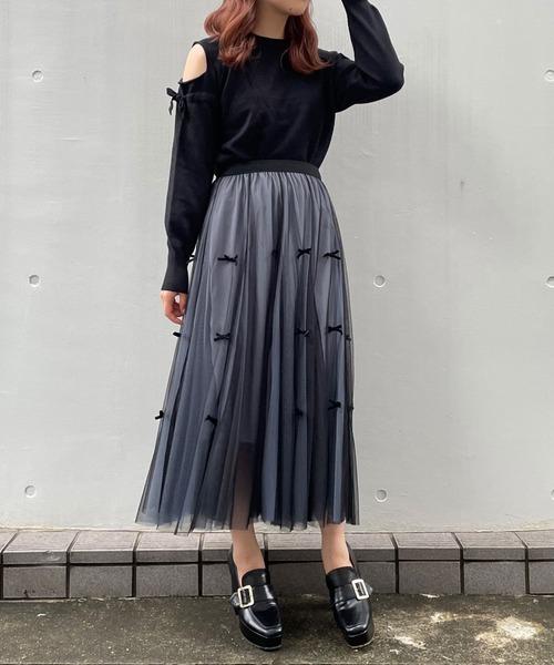 【titty&Co.PETIT】リボンチュールレイヤードスカート