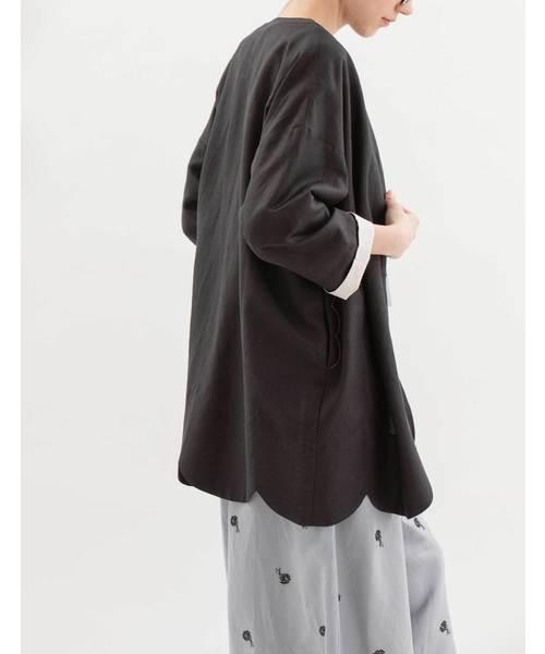 Pomme ノーカラースカラップジャケット