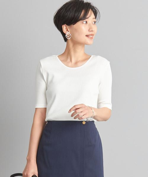 【WORK TRIP OUTFITS】★WTO シャイニー ワイドテレコ クルーネック